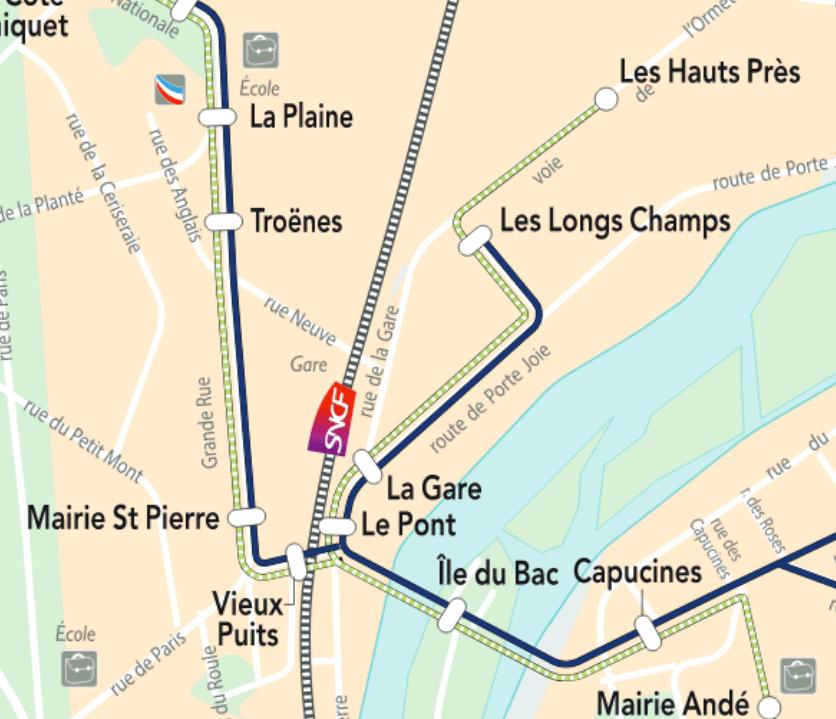 Les arrêts de bus à Saint-Pierre du Vauvray