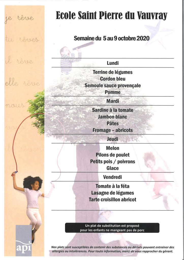 SEMAINE 41 -menus du 5 octobre au 9 octobre2020