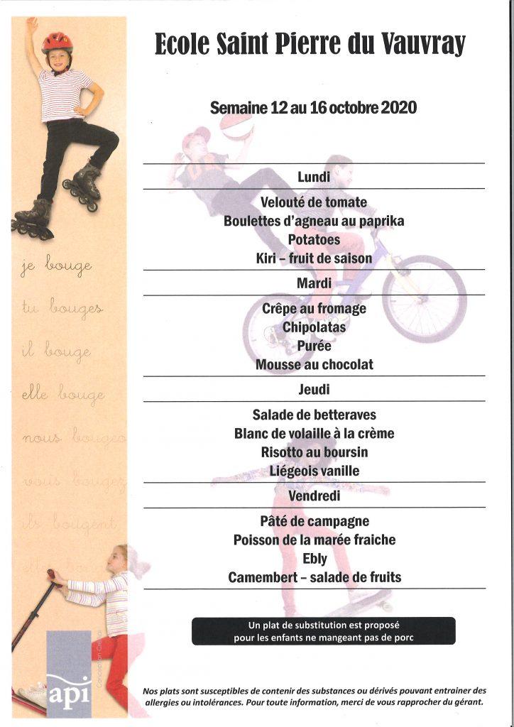 SEMAINE 42 -menus du 12 octobre au 16 octobre 20
