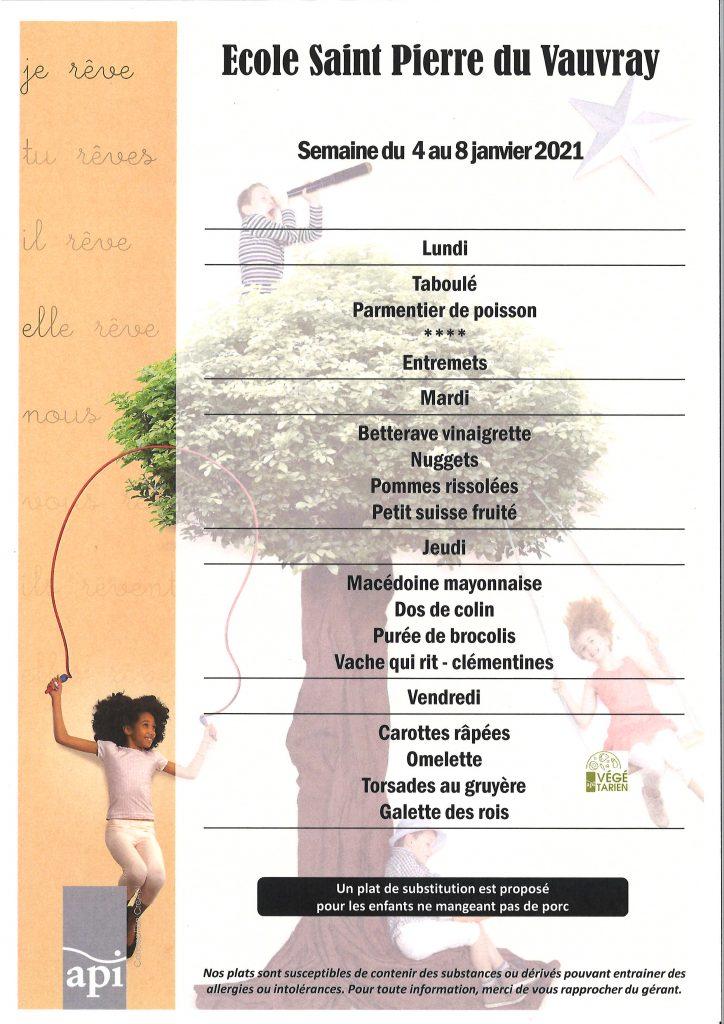 menus SEMAINE 01 - 2021