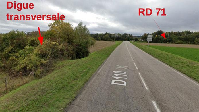 digue transversale RD 110 - chaussée de l'Andelle